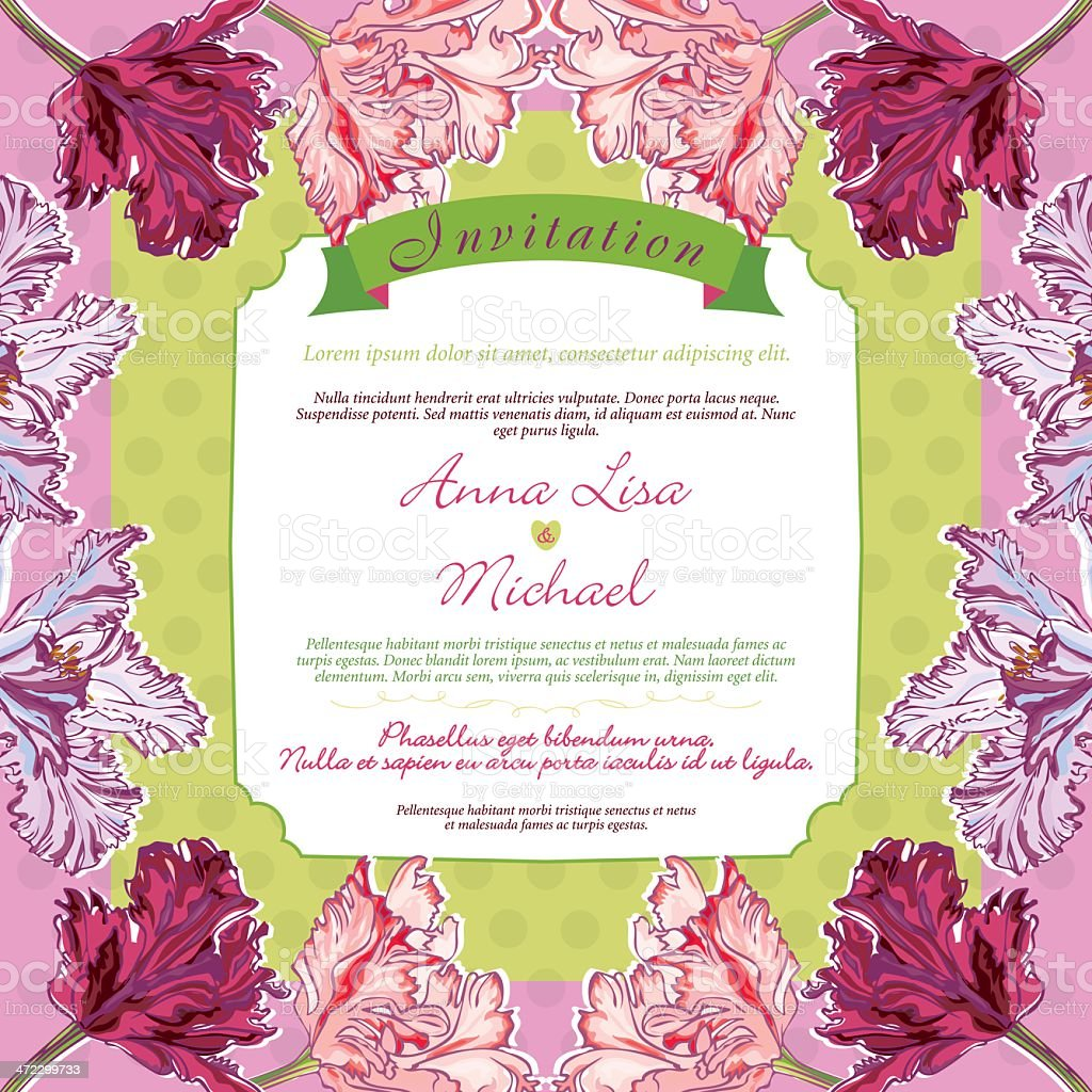 Vintage Wedding Invitation with Tulips royalty-free stock vector art