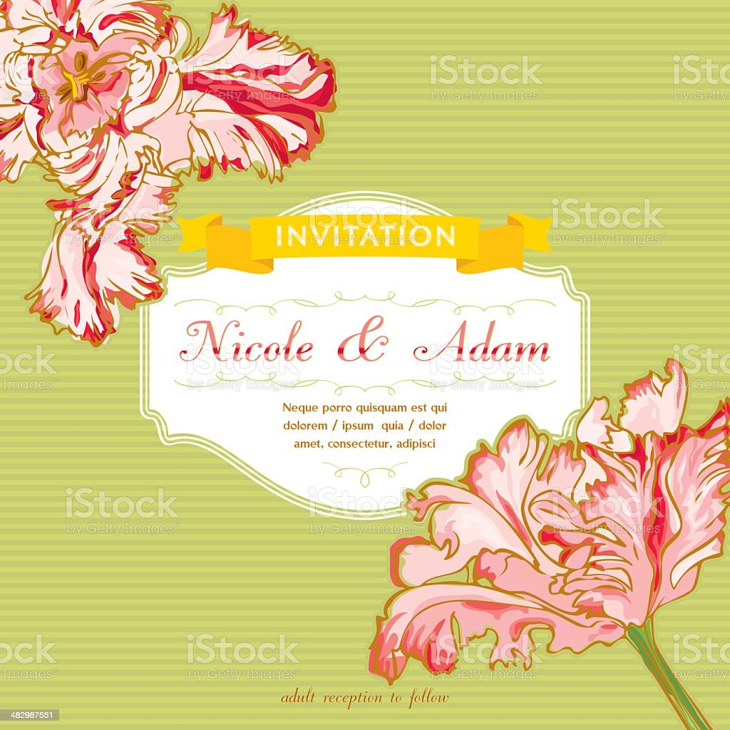Vintage Wedding Invitation with Tulips royalty-free vintage wedding invitation with tulips stock vector art & more images of backgrounds