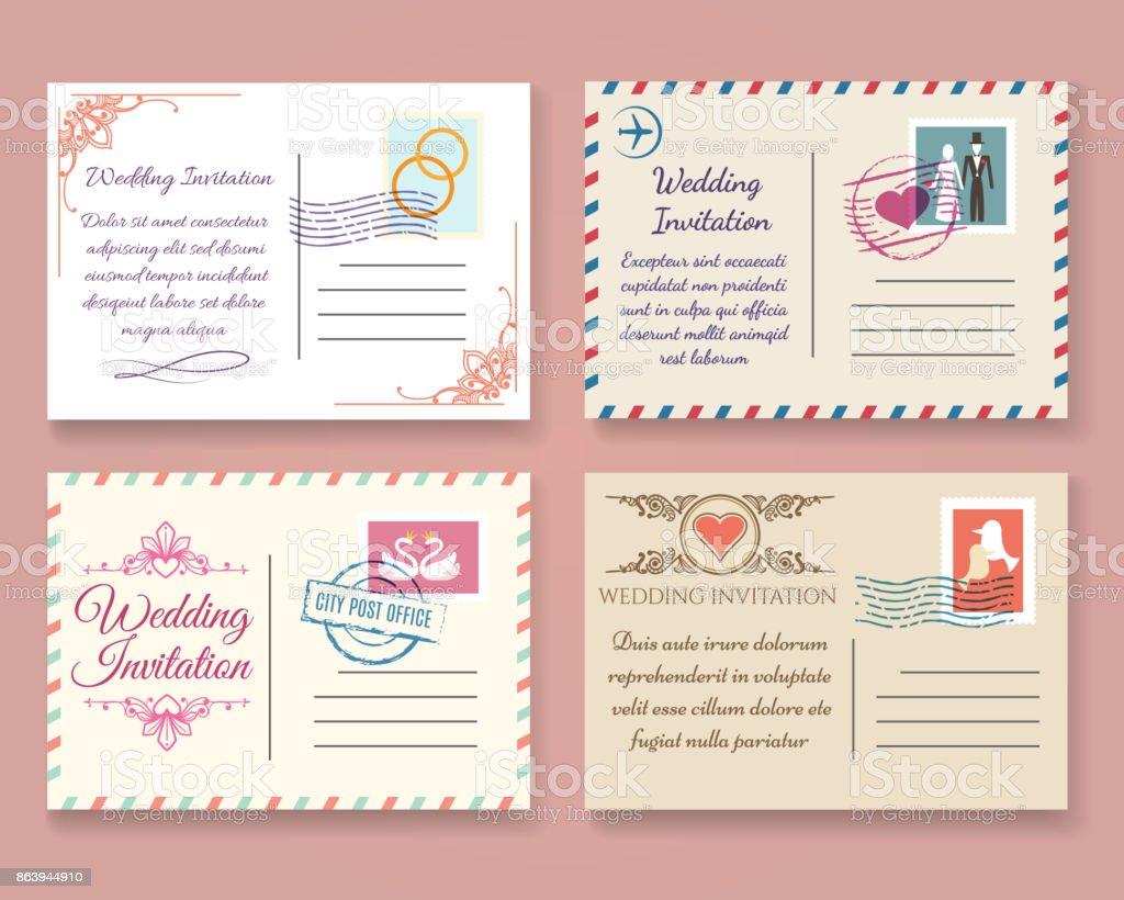 Vintage Hochzeit Postkarte Vorlagen Stock Vektor Art und mehr Bilder ...