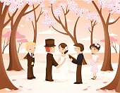 An intimate vintage-inspired wedding in an enchanted cherry blossom forest. The bride and groom hold hands as the officiant orchestrates the wedding. The groomsman and bridesmaid looks on. Doves are witnesses watching on the branches.