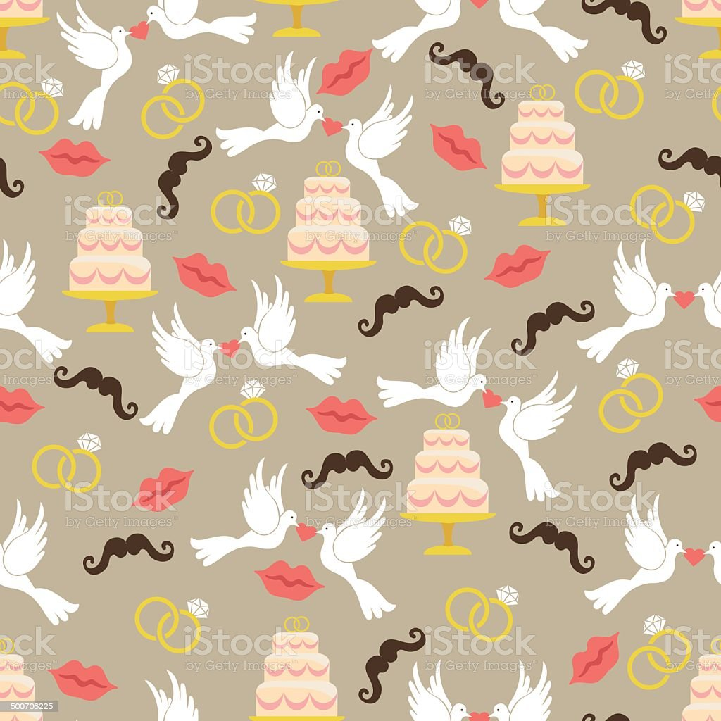 Vintage wedding seamless pattern set.Lips,mustache, pigeons,cake royalty-free stock vector art