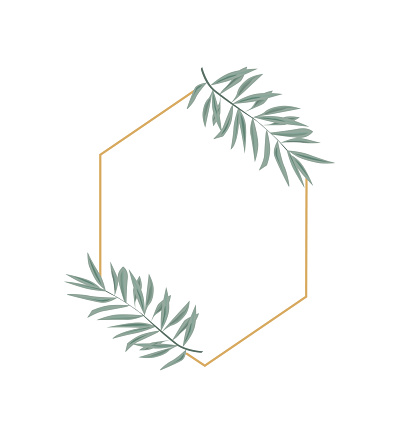 Vintage wedding set with greenery. Vector illustration. Wreath with leaves and twigs.