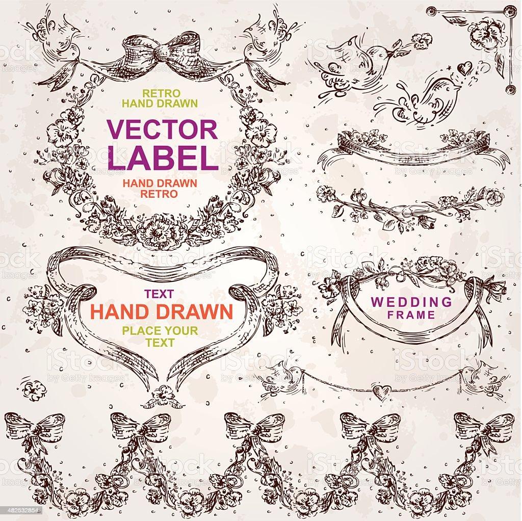 Vintage Hochzeitromantik Vektorset Hand Gezeichnete Designelementen ...