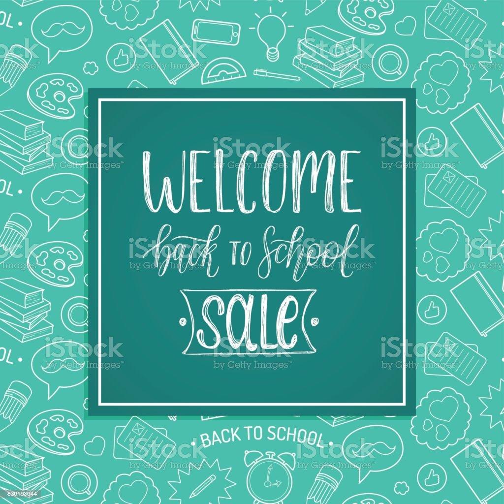Vintage Welcome Back To School Sale poster. Vector hand lettering in frame. Knowledge day design concept. vector art illustration
