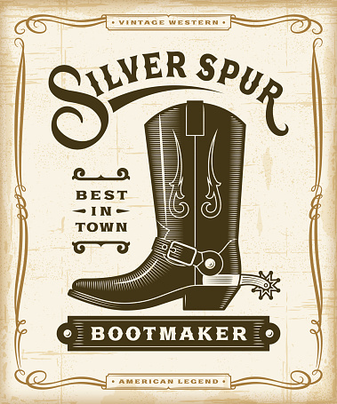 Vintage western bootmaker label graphics in woodcut style. Editable EPS10 vector illustration with transparency.