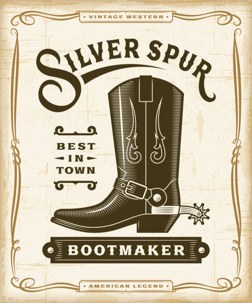Vintage Western Bootmaker Label Graphics Vintage western bootmaker label graphics in woodcut style. Editable EPS10 vector illustration with transparency. wild west stock illustrations