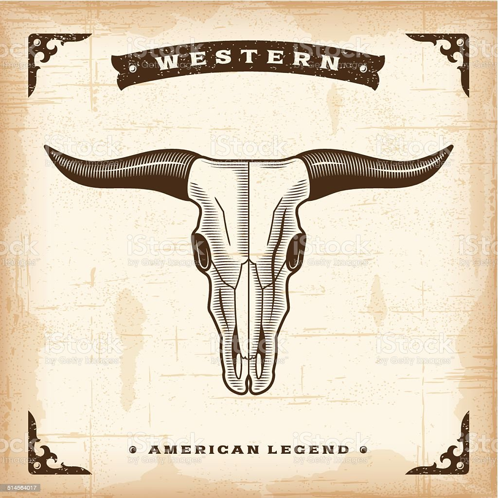 Vintage Western Bull Skull vector art illustration