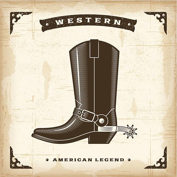 vintage-western-boot - cowboystiefel stock-grafiken, -clipart, -cartoons und -symbole