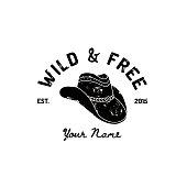 Vintage Western Cowboy Hat Logo. Vector Symbol of the wild West, Texas. US label Retro Typography Grunge Style.