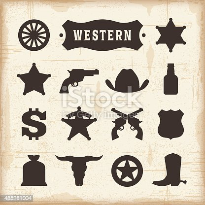 Vintage western icons set. Editable EPS10 vector illustration with transparency. Includes high resolution JPG.
