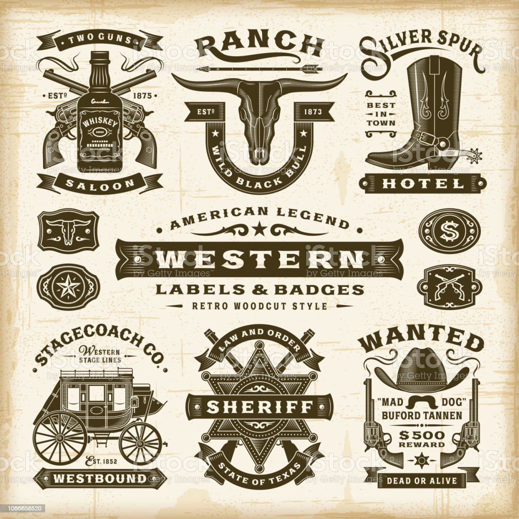Vintage Western étiquettes et insignes Set vintage western étiquettes et insignes set vecteurs libres de droits et plus d'images vectorielles de animaux au travail libre de droits