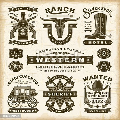 Vintage western labels and badges set in woodcut style. Editable EPS10 vector illustration with transparency.