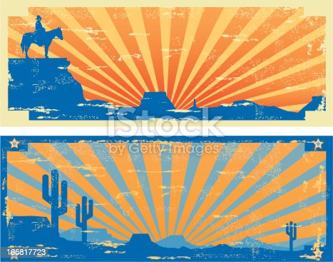 Retro Vintage Style Labels with a Desert and Cowboy theme  including cactus, landscape and sunset. Labels have a worn and textured finish which is easily deleted if not required. All elements are on interchangeable layers and easily scaled and edited.