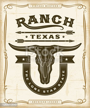 Vintage western ranch label graphics in woodcut style. Editable EPS10 vector illustration with transparency.
