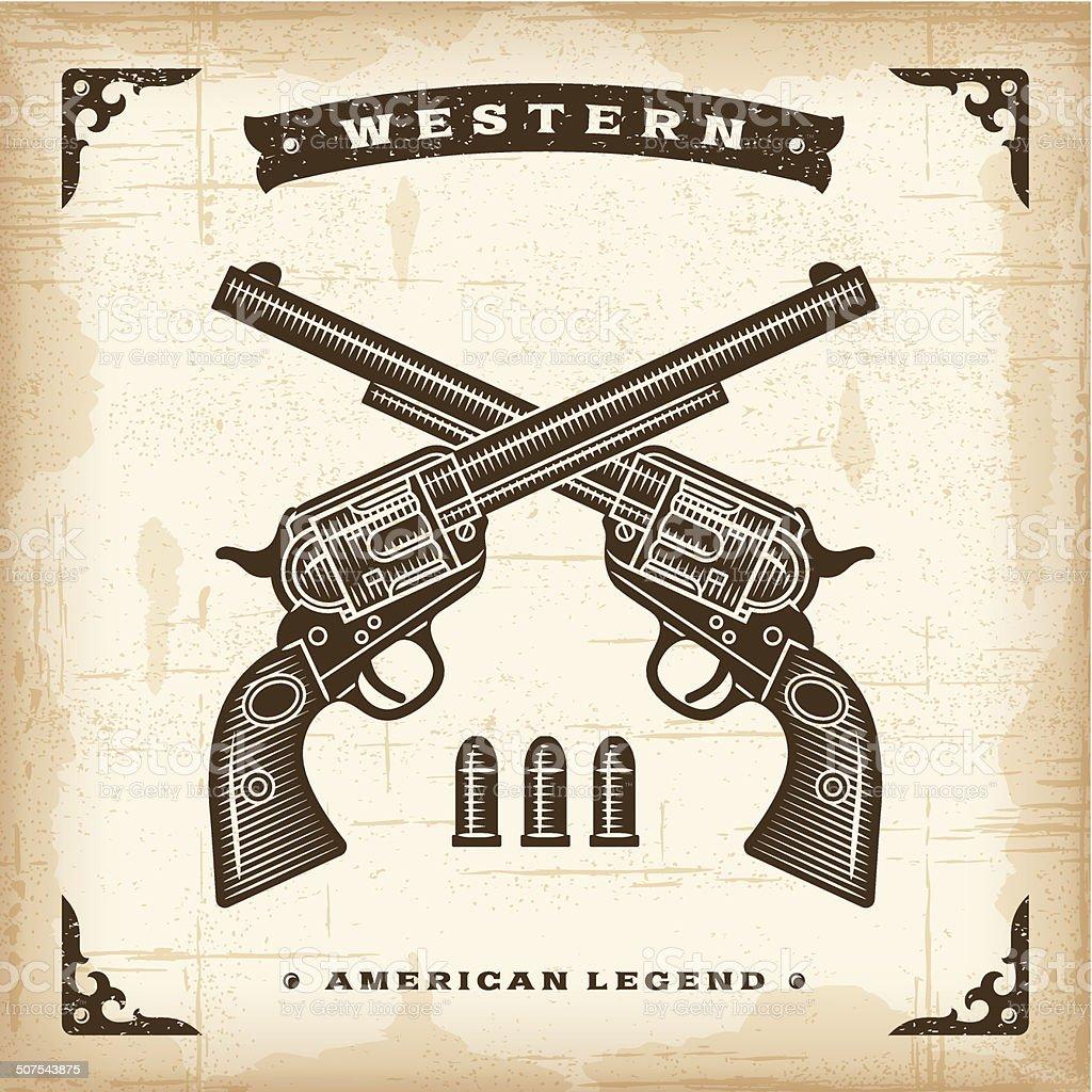 Vintage Western Revolvers vector art illustration