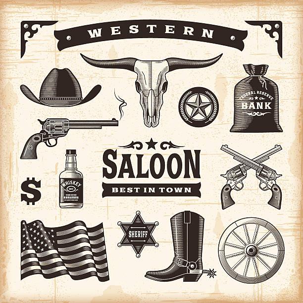 vintage-western-set - cowboystiefel stock-grafiken, -clipart, -cartoons und -symbole