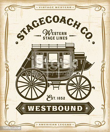 Vintage western stagecoach label graphics in woodcut style. Editable EPS10 vector illustration with transparency.