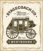 Vintage Western Stagecoach Label Graphics