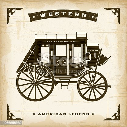 Vintage western stagecoach in woodcut style. Editable EPS10 vector illustration.