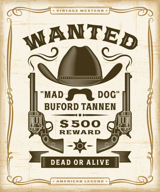 Vintage Western Wanted Label Graphics Vintage western wanted label graphics in woodcut style. Editable EPS10 vector illustration with transparency. wild west stock illustrations