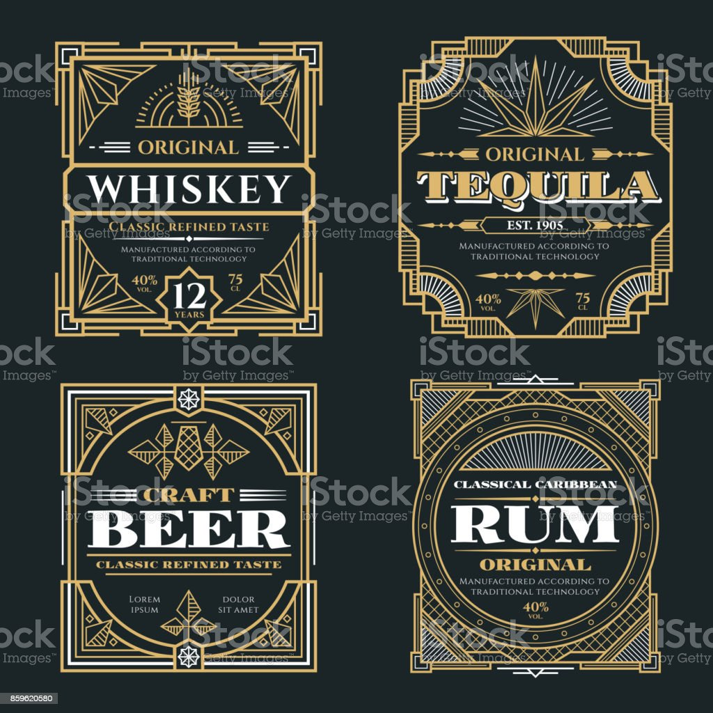 Vintage whiskey and alcoholic beverages vector labels in art deco retro style