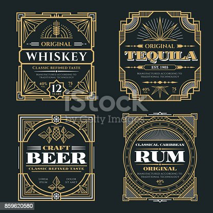 istock Vintage whiskey and alcoholic beverages vector labels in art deco retro style 859620580