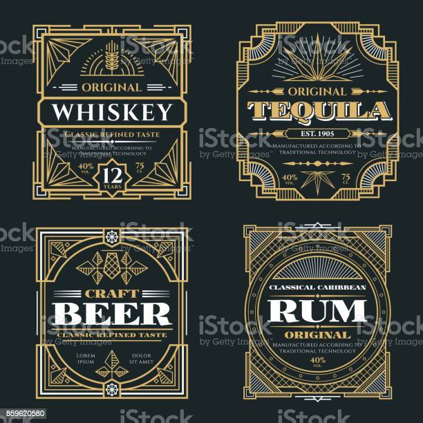 Vintage whiskey and alcoholic beverages vector labels in art deco vector id859620580?b=1&k=6&m=859620580&s=612x612&h=gl6xxkbv jdewj8i g8tympqu b855kgc ek5vvdtjy=