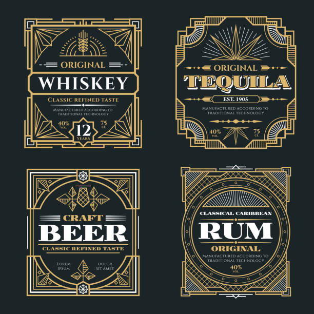 vintage whiskey and alcoholic beverages vector labels in art deco retro style - alcohol drink drawings stock illustrations