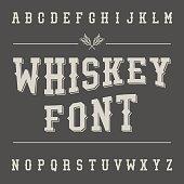 Vintage Whiskey Font. Alcohol Drink Label Design. Slab Serif Retro Typeface. Latin Alphabet. Vector.