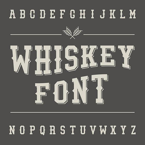 vintage whiskey font. alcohol drink label design. slab serif ret - gothic fashion stock illustrations, clip art, cartoons, & icons