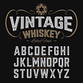 istock Vintage whiskey label font with sample design 519500354