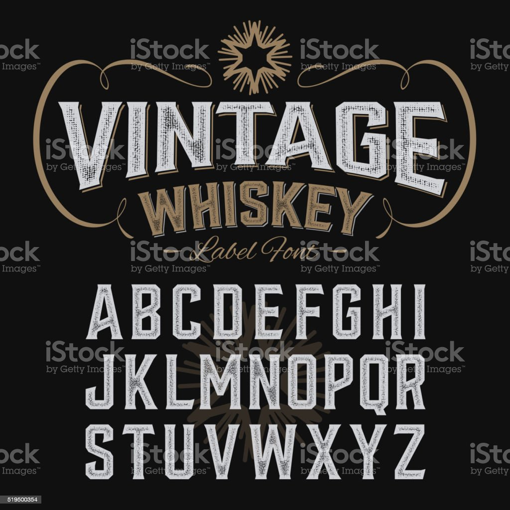 Vintage whiskey label font with sample design vector art illustration