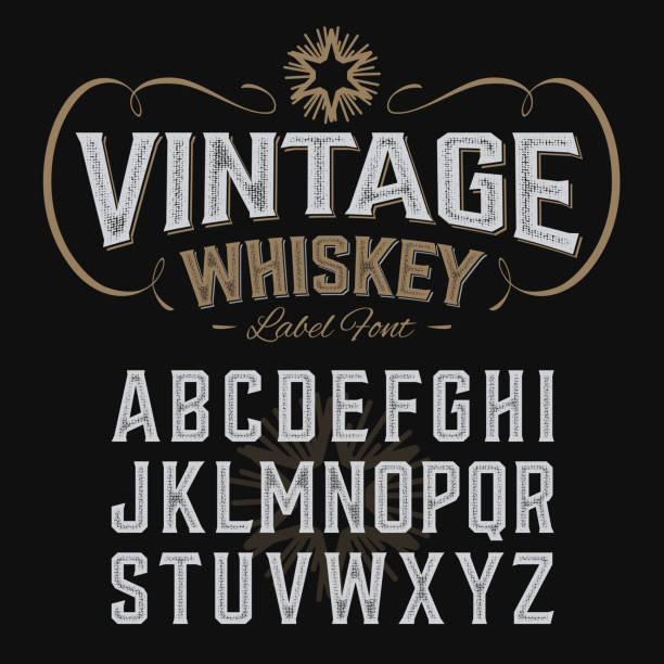 vintage whiskey label font with sample design - retro fonts stock illustrations, clip art, cartoons, & icons