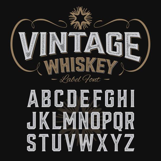 vintage whisky etykieta czcionki z próbką projektowanie - kieliszek stock illustrations