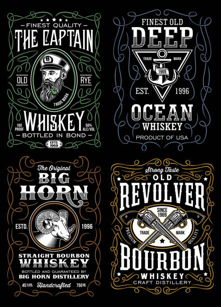 vintage whiskey label t-shirt design collection - kieliszek stock illustrations