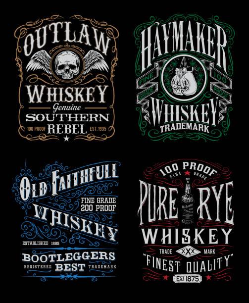 Vintage Whiskey Label T-shirt Graphic Set Vintage Whiskey Label T-shirt Graphic Set alcohol drink patterns stock illustrations