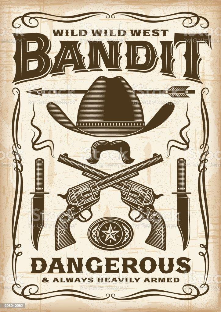 Vintage Wild West Bandit Poster vector art illustration