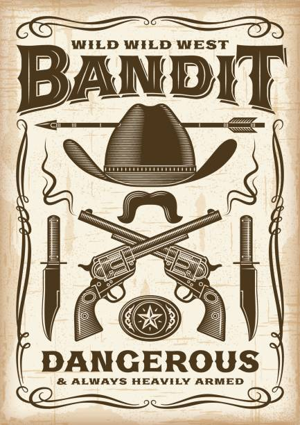 Vintage Wild West Bandit Poster Vintage wild west bandit poster in woodcut style. Editable EPS10 vector typography. wild west stock illustrations
