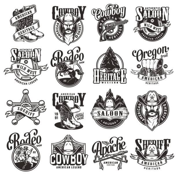 ilustraciones, imágenes clip art, dibujos animados e iconos de stock de colección de emblemas salvajes salvajes vintage del oeste - rodeo