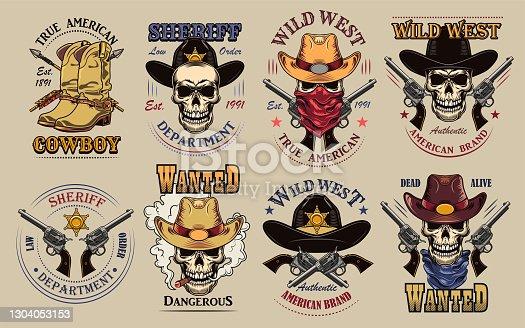 istock Vintage wild west flat sign set 1304053153