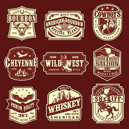 Vintage wild west monochrome emblems set