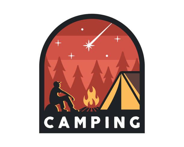 Vintage Wildlife Summer Camp Camping Activities Emblem Badge Illustration vector art illustration