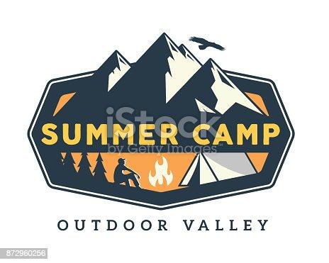 Vintage Wildlife Summer Camp Camping Activities Emblem Badge Illustration