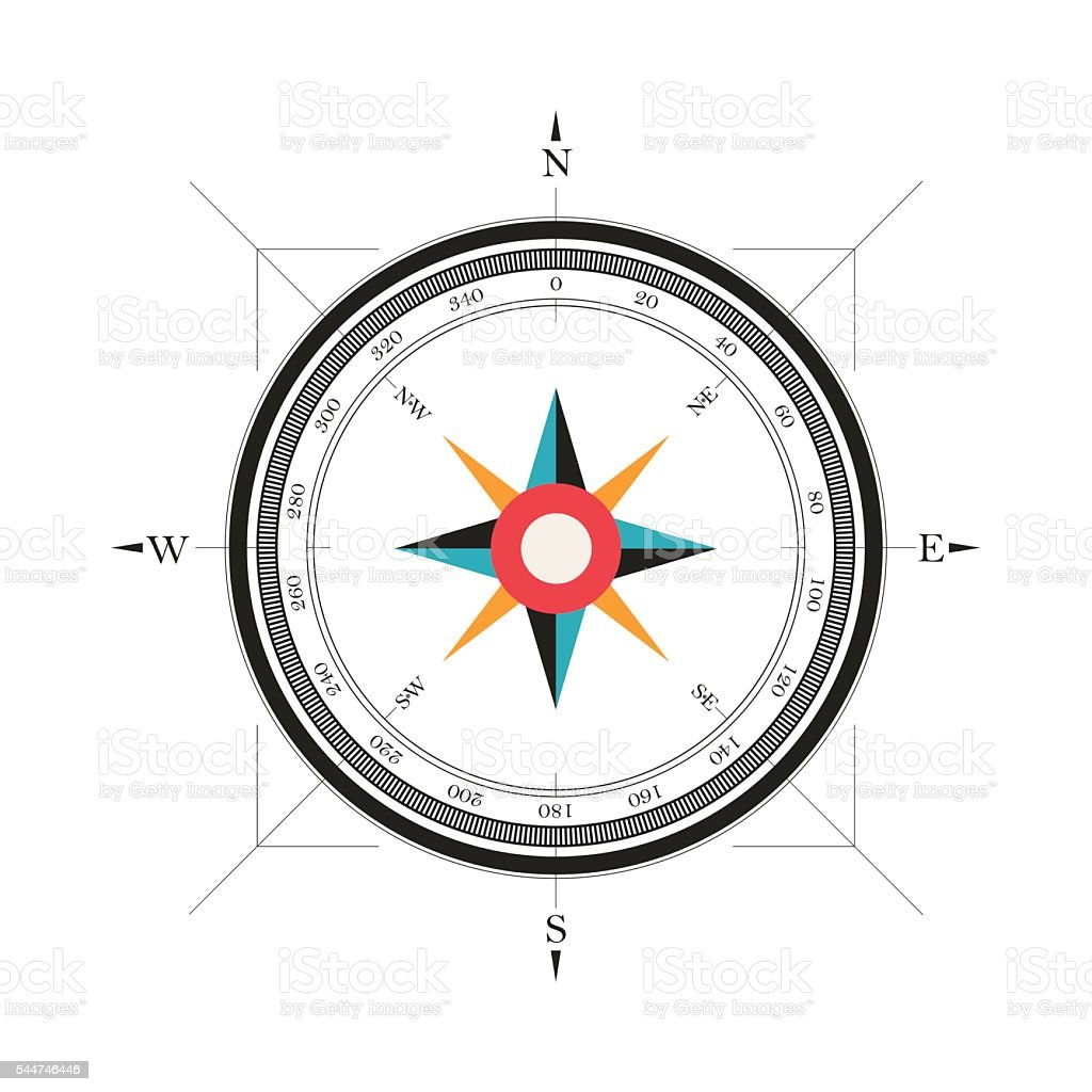 Vintage wind rose isolated vector illustration vector art illustration