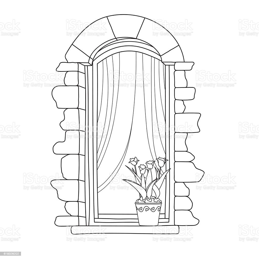 vintage window drawing. vintage window royalty-free stock vector art drawing