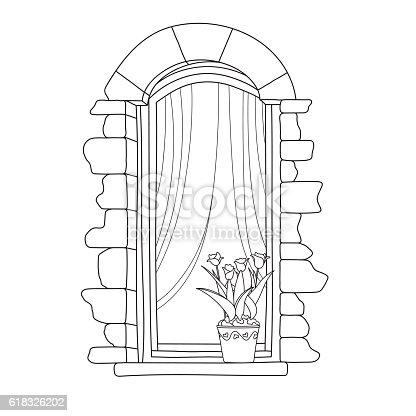 vintage window drawing. vintage window drawing