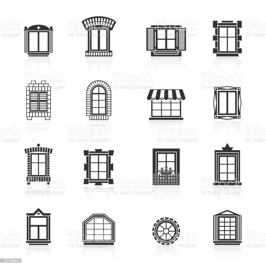 Vintage windows set. Flat exterior icons. vector art illustration