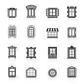 Vintage windows set. Flat exterior icons.