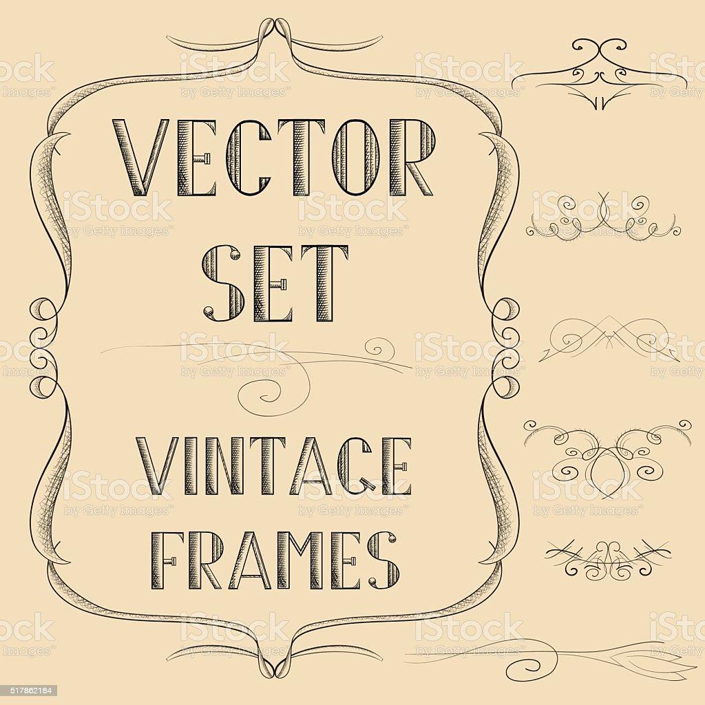 Vintagerahmen Mit Wind Und Wetter Stock Vektor Art und mehr Bilder ...