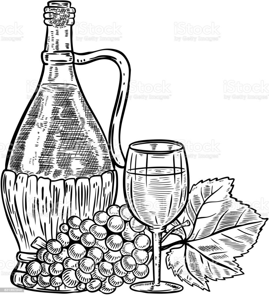 Vintage Wine Bottle With Grapes And Glass Royalty Free